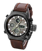 Мужские часы наручные с ремешком AMST темно коричневые