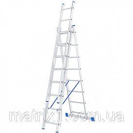 Лестница, 3 х 8 ступеней, алюминиевая, трехсекционная, Сибртех