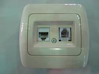 Розетка комбинированная ABB El-bi Tuna компьютерная 5Е + телефонная для внутреннего монтажа, крем