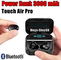 Беспроводные сенсорные Bluetooth наушники Touch Air Pro TWS (000317), Power Bank 3600 mAh, LED Power Display