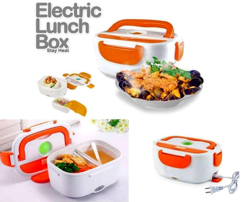 Ланч бокс с подогревом Судочек контейнер пищевой Термос для еды 220в оранжевый