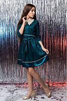 Нарядное платье для девочки - подростка с красивым воротником украшенным жемчужинами