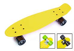 Пенни борд скейт 57 х 15 см до 80 кг ABEC-7 матовые колеса Penny Board желтый