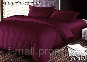Комплект постельного белья Тет-А-Тет ( Украина ) двуспальное Страйп сатин бордовый (ST-019)