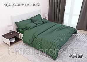 Комплект постільної білизни Тет-А-Тет ( Україна ) двоспальне Страйп сатин темно-зелений (ST-022)