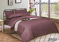 Комплект постельного белья Тет-А-Тет ( Украина ) евро Страйп сатин марсаловый (ST-025)