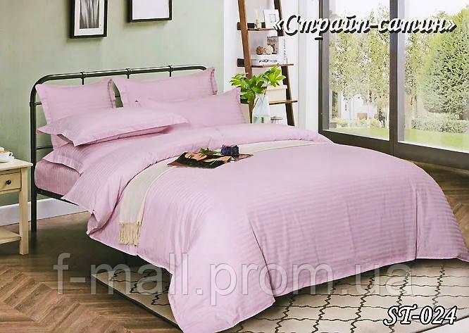 Комплект постельного белья Тет-А-Тет ( Украина ) евро Страйп сатин лавандовый (ST-024)