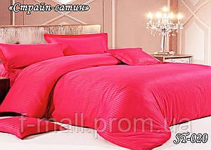 Комплект постільної білизни Тет-А-Тет ( Україна ) євро Страйп сатин яскраво-рожевий (ST-020)