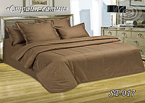 Комплект постільної білизни Тет-А-Тет ( Україна ) євро Страйп сатин коричневий (ST-017)