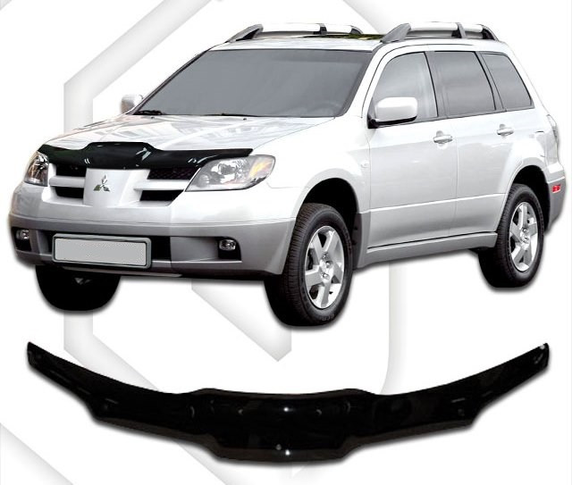Дефлектор капота  Mitsubishi Outlander с 2001-2007,  Мухобойка Mitsubishi Outlander