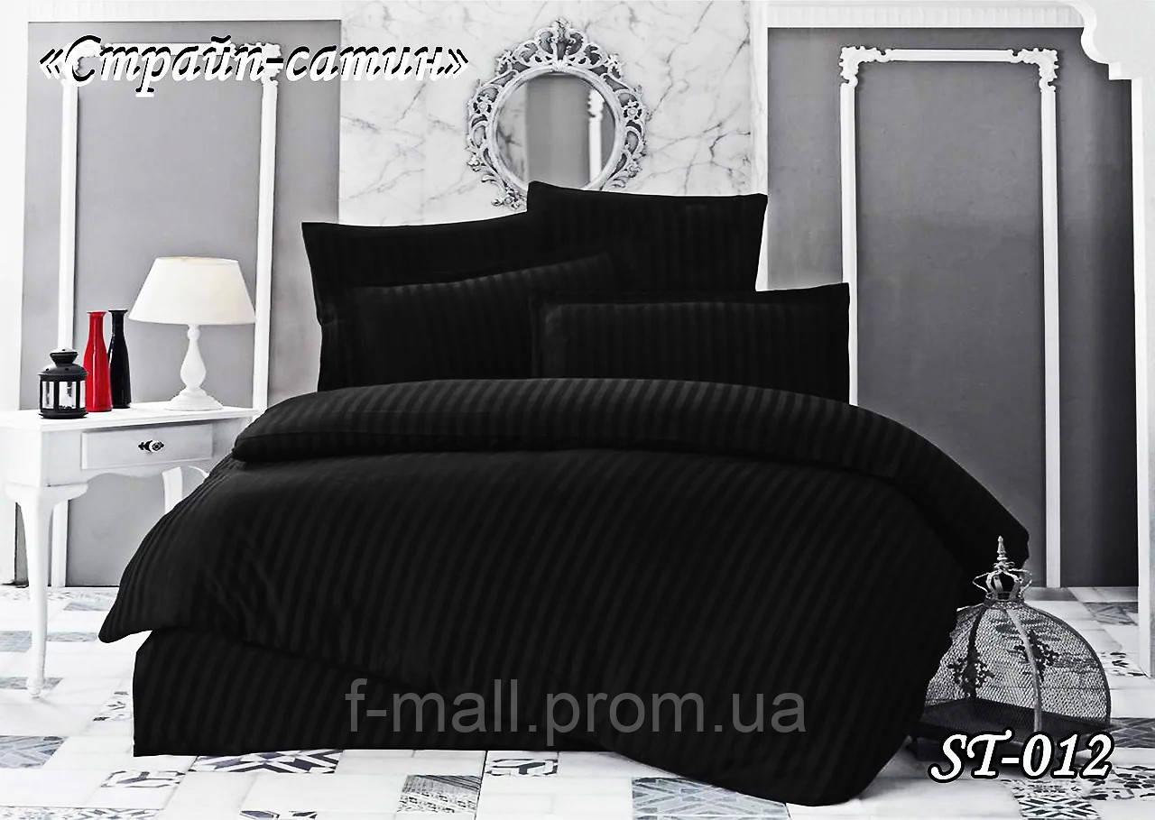 Комплект постельного белья Тет-А-Тет ( Украина ) евро Страйп сатин черный (ST-012)