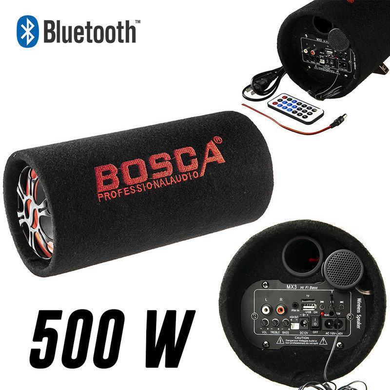 """Колонка беспроводная Сабвуфер 5"""" Bluetooth FM 12В и 220В 500W BOSCA черная"""