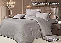 Комплект постельного белья Тет-А-Тет ( Украина ) евро Страйп сатин серебро (ST-04)