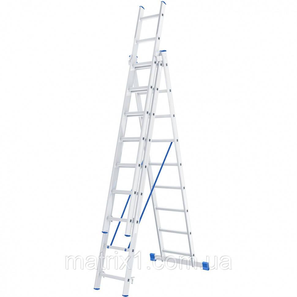 Лестница, 3 х 9 ступеней, алюминиевая, трехсекционная, Сибртех
