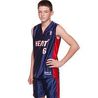 Форма баскетбольная юниорская NBA HEAT с номером 6 (реплика)