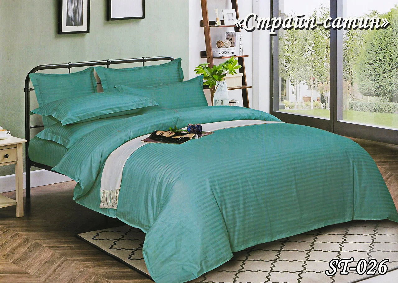 Комплект постельного белья Тет-А-Тет ( Украина ) двуспальное Страйп темная бирюза (ST-026)