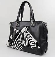 Стильная женская сумка Зебра, 41 х 29 х 13 см.