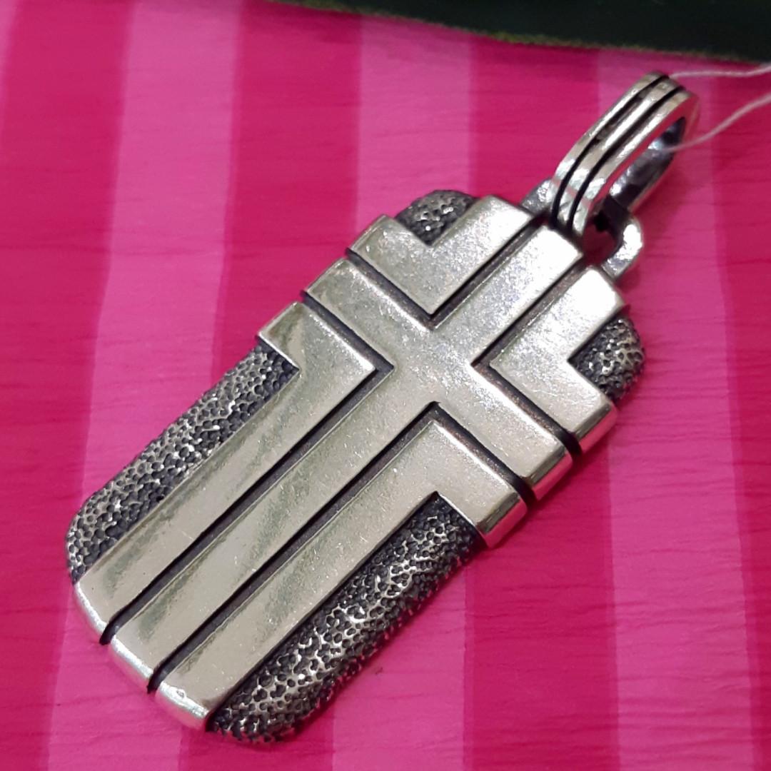 Серебряный жетон с крестом - Мужской серебряный кулон Жетон