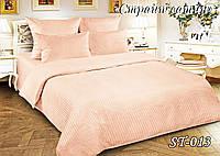 Комплект постельного белья Тет-А-Тет ( Украина ) двуспальное Страйп сатин пудра (ST-013)