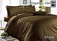 Комплект постельного белья Тет-А-Тет ( Украина ) двуспальное Страйп сатин шоколад (ST-06)