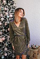 Женское платье на запах люрекс серебро золото красный 42-44 46-48, фото 1