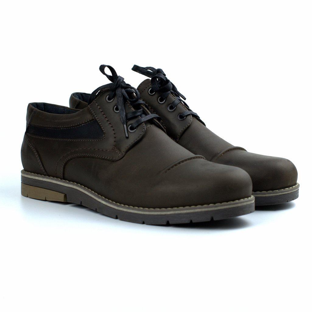 Коричневые полуботинки кожаные мужская обувь больших размеров Rosso Avangard Winterprince Street Brown Night