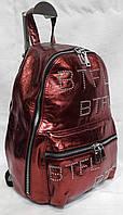 Молодёжный рюкзак из натуральной кожи. Стильный кожаный рюкзак женский. Красный, фото 1