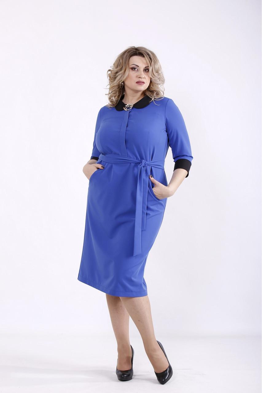 ❤/ Женское платье электрик с поясом 01357 / Размер 42-72 / Батал