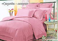 Комплект постельного белья Тет-А-Тет ( Украина ) двуспальное Страйп сатин розовый (ST-02)