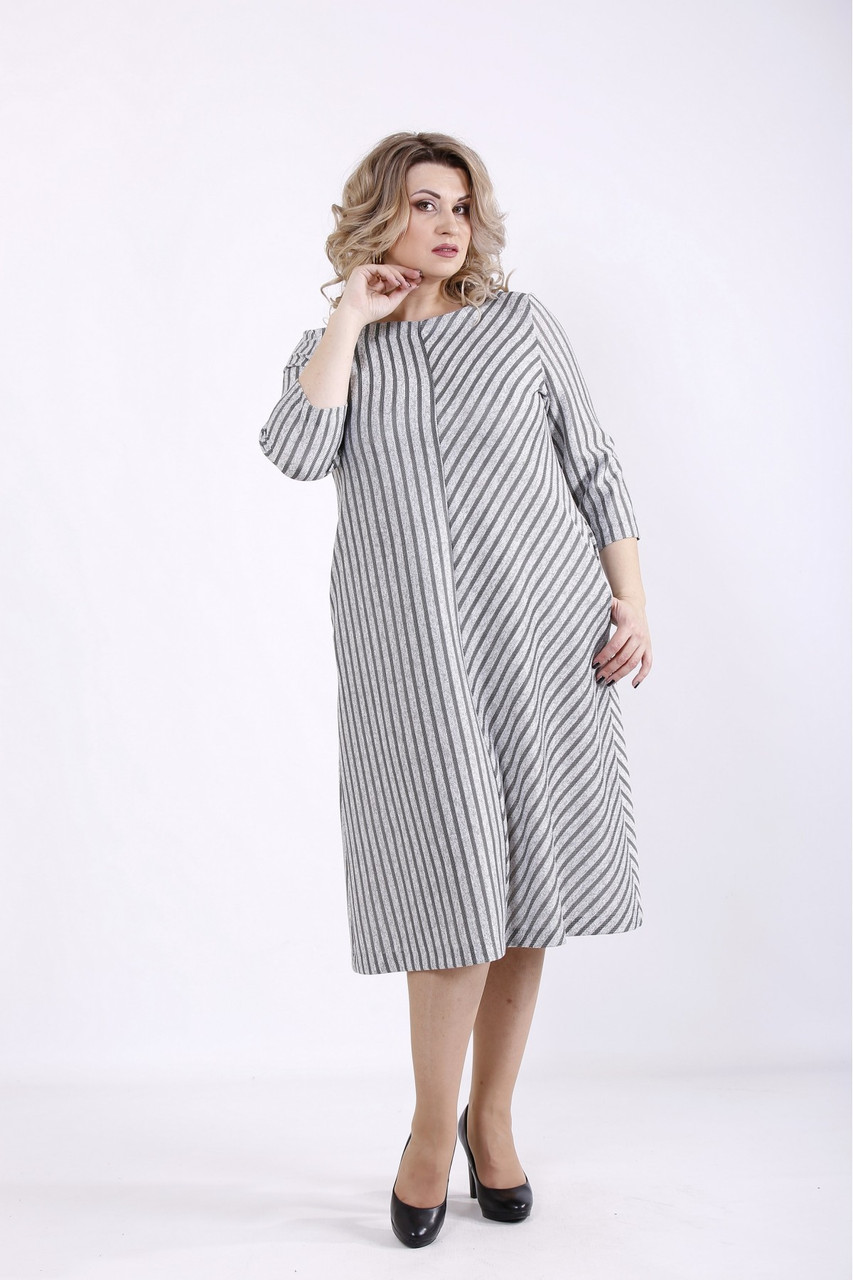 ❤/ Женское светлое платье в полоску из ангоры 01355 / Размер 42-72 / Батал