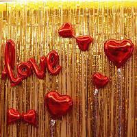 Шторка занавес из фольги для фото зон золотая штора 1х2 метра