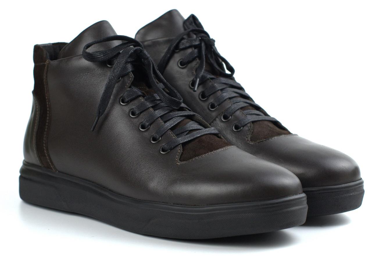 Зимові черевики шкіряні коричневі чоловіче взуття великих розмірів Rosso Avangard North Lion 02-227 BS