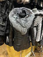 Куртка натуральная с натуральным мехом чернобурки