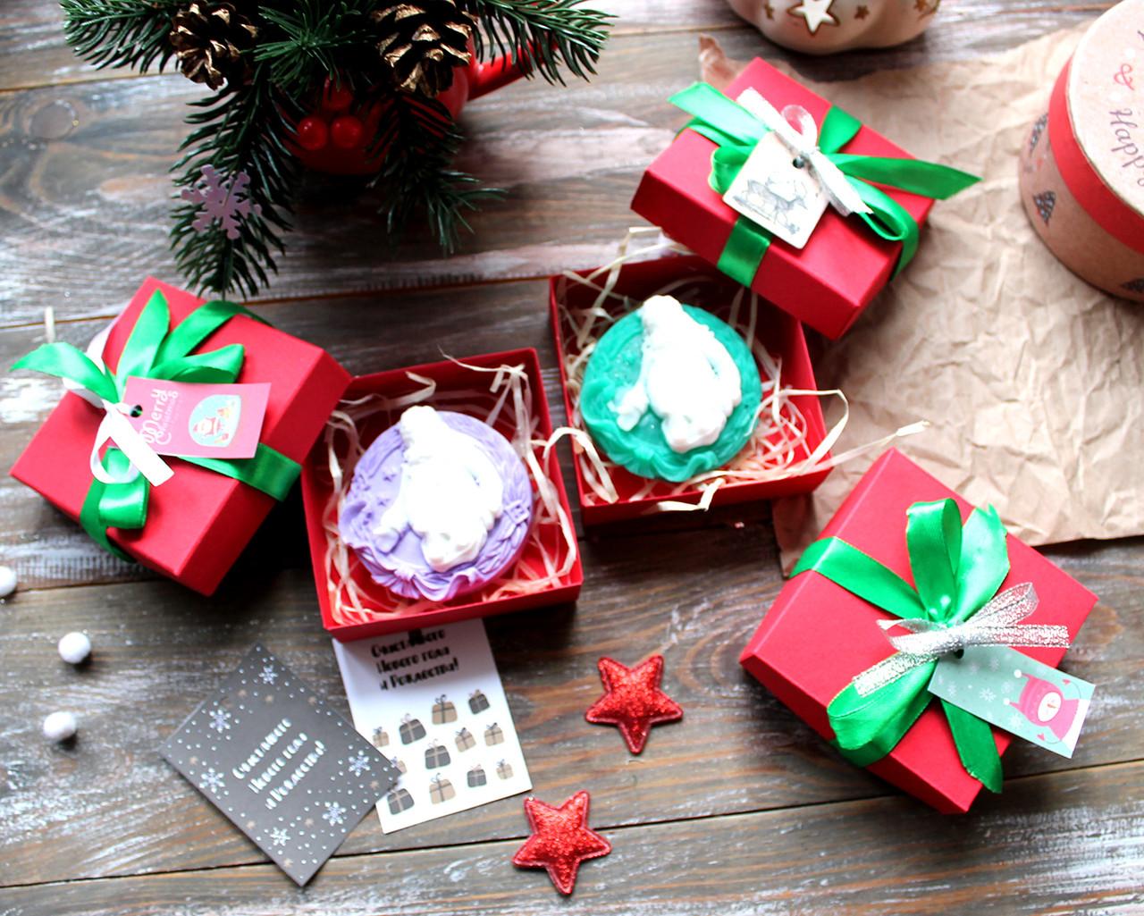 Новогоднее мыло Санта в красивой коробочке