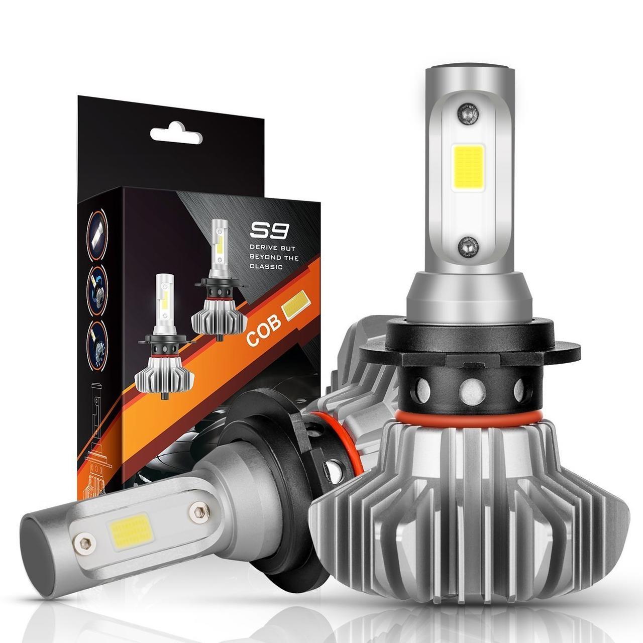 Комплект H7 2 LED лампы светодиодные головного света с радиатором дальний свет 12в COB 30Вт 6500K 7000Lm HeadLight S9 H7