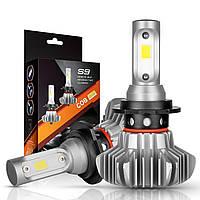 Комплект H7 2 LED лампы светодиодные головного света с радиатором дальний свет 12в COB 30Вт 6500K 7000Lm HeadLight S9 H7, фото 1