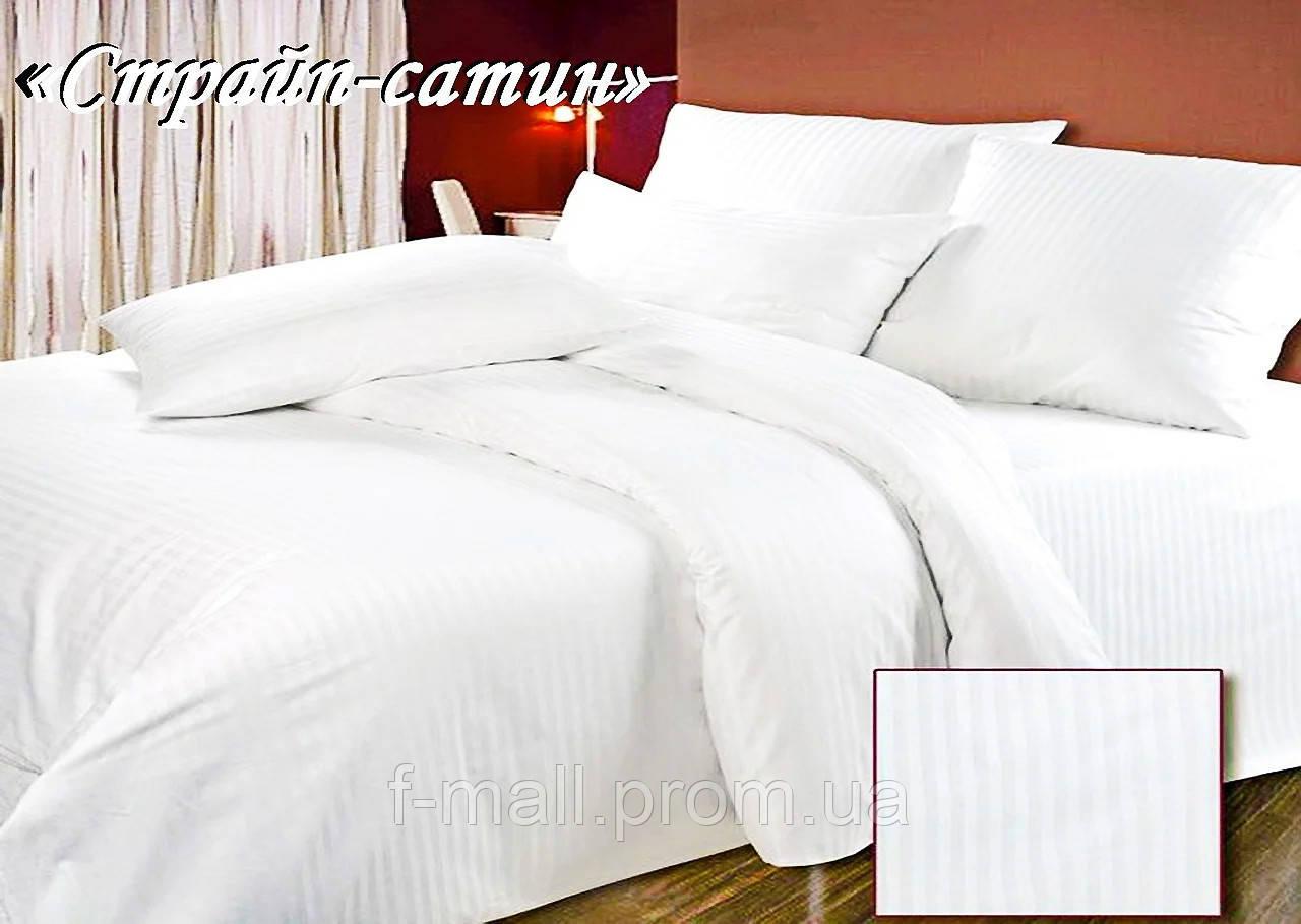 Комплект постельного белья Тет-А-Тет ( Украина ) полуторный Страйп сатин белый (ST-01)