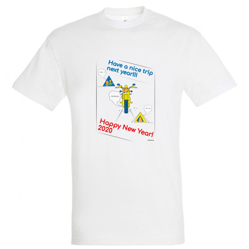 """Байкерская новогодняя футболка """"Have a nice trip"""" 2020"""