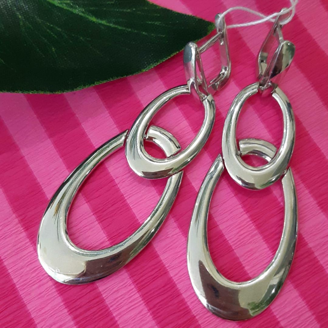 Длинные серебряные серьги Овалы - Брендовые серьги-подвески серебро родированное