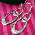 Длинные серебряные серьги Овалы - Брендовые серьги-подвески серебро родированное, фото 2