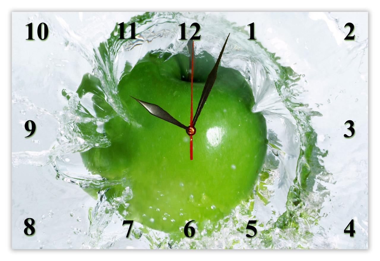 """Настенные часы МДФ кухонные кварцевые """"Яблоко в воде"""" кварцевые"""