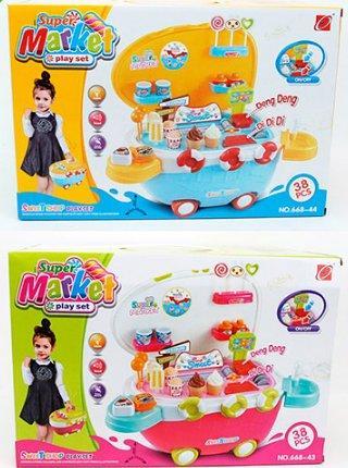 Детский магазин-чемодан Мороженое со светом и звуком и USBвходом 668-43-44