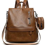 Женская сумка рюкзак коричневый антивор + кошелек на руку 177  Искусственная кожа.