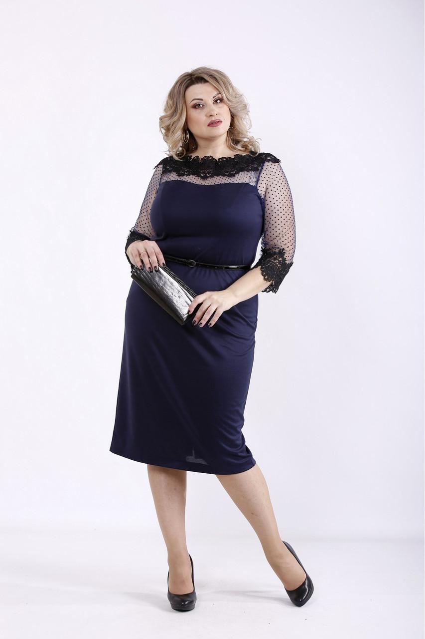 ❤/ Женское темно-синее элегантное платье 01348 / Размер 42-72 / Батал