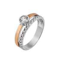 Серебряное кольцо с золотой вставкой и фианитами