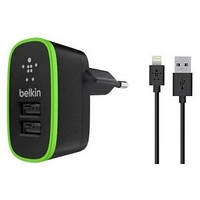 Зарядное устройство 2USB BELKIN (2,1A/10Watt) Black + USB Cable iPhone 5/5S/5C/iPad 4/mini (BK670)