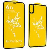 Защитное стекло Premium 6D для iPhone X / Xs Max (2в1) Черный