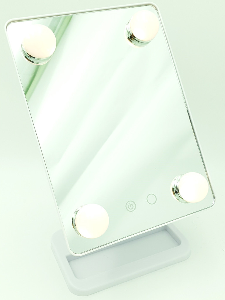 Зеркало для макияжа с LED подсветкой на подставке холодный нейтральный тёплый свет Cosmetie Mirror HH083 белый