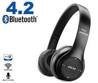 Беспроводные блютуз наушники с радио и MP3 плеером FM Bluetooth UKC P47 черные, фото 1