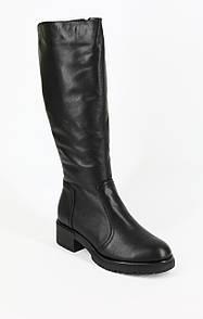 Модные женские кожаные зимние сапоги на небольшом каблуке
